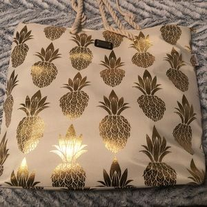 Tan and Gold Pineapple Tote